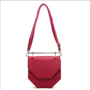 Wine/Gold Hexagon Crossbody